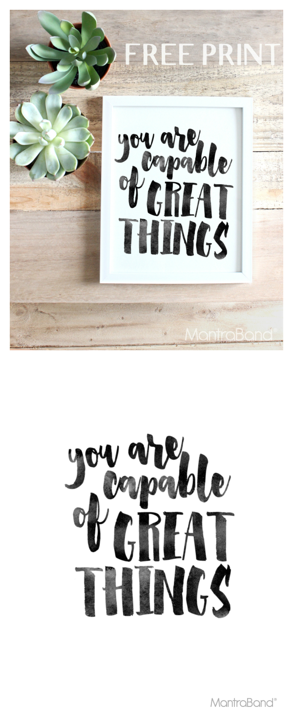 You Are Capable Of Great Things | Free Prints | Printable Wall Art - Free Printable Wall Art Quotes