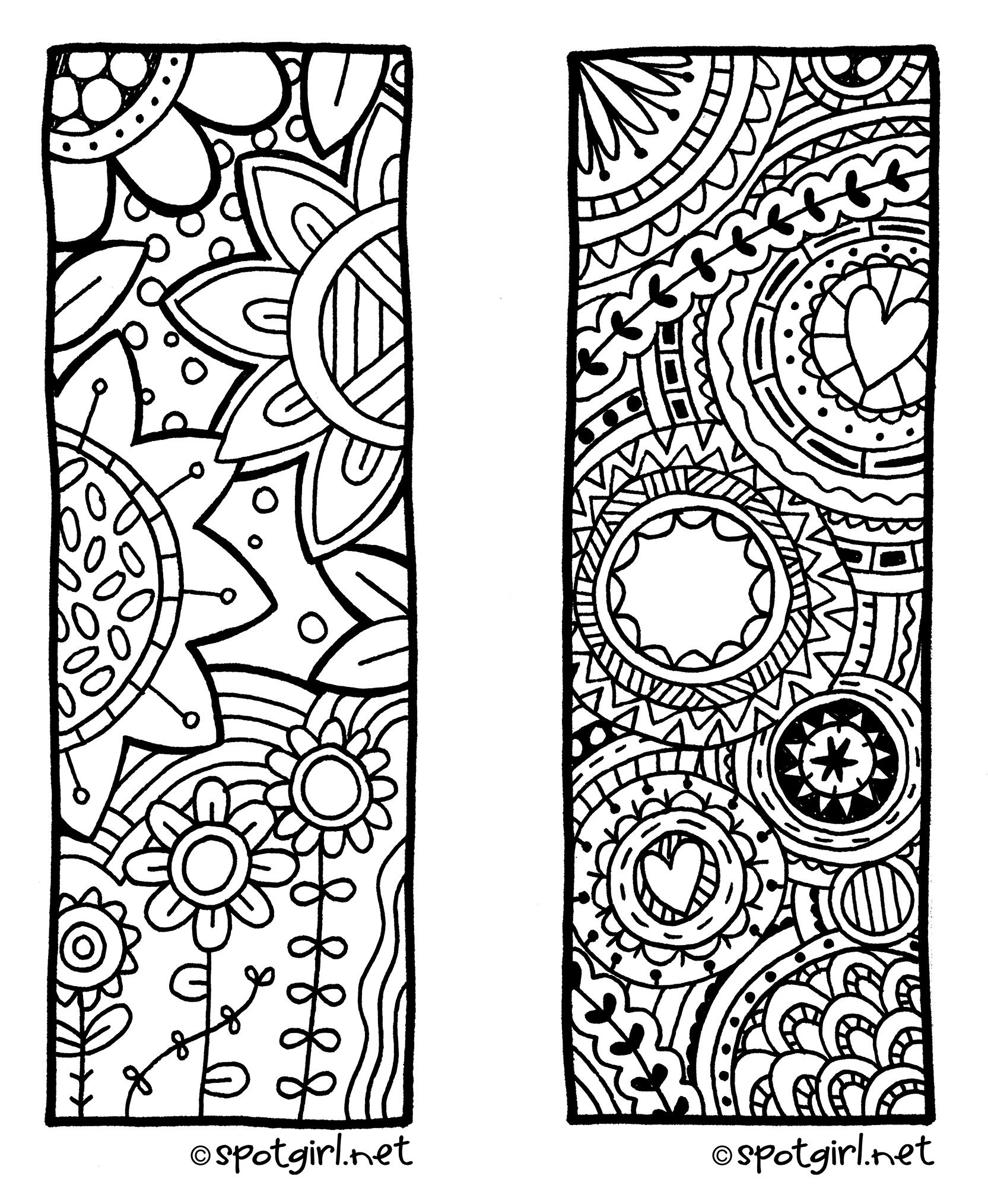 Zentangle Bookmark Printable From Spotgirl-Hotcakes.blogspot - Free Printable Bookmarks To Color