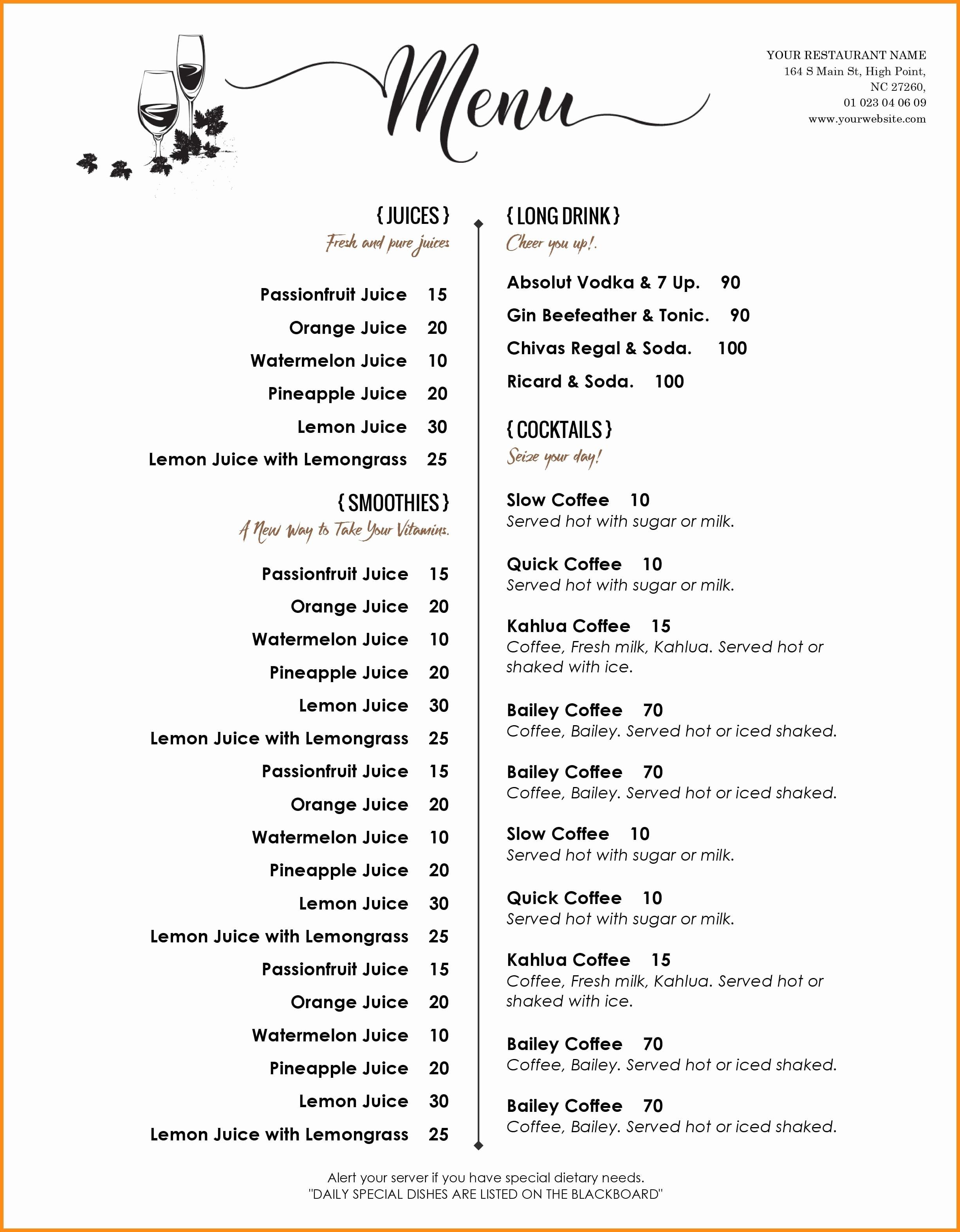 004 Free Printable Drink Menu Template Elegant Templates Word Of - Menu Template Free Printable Word