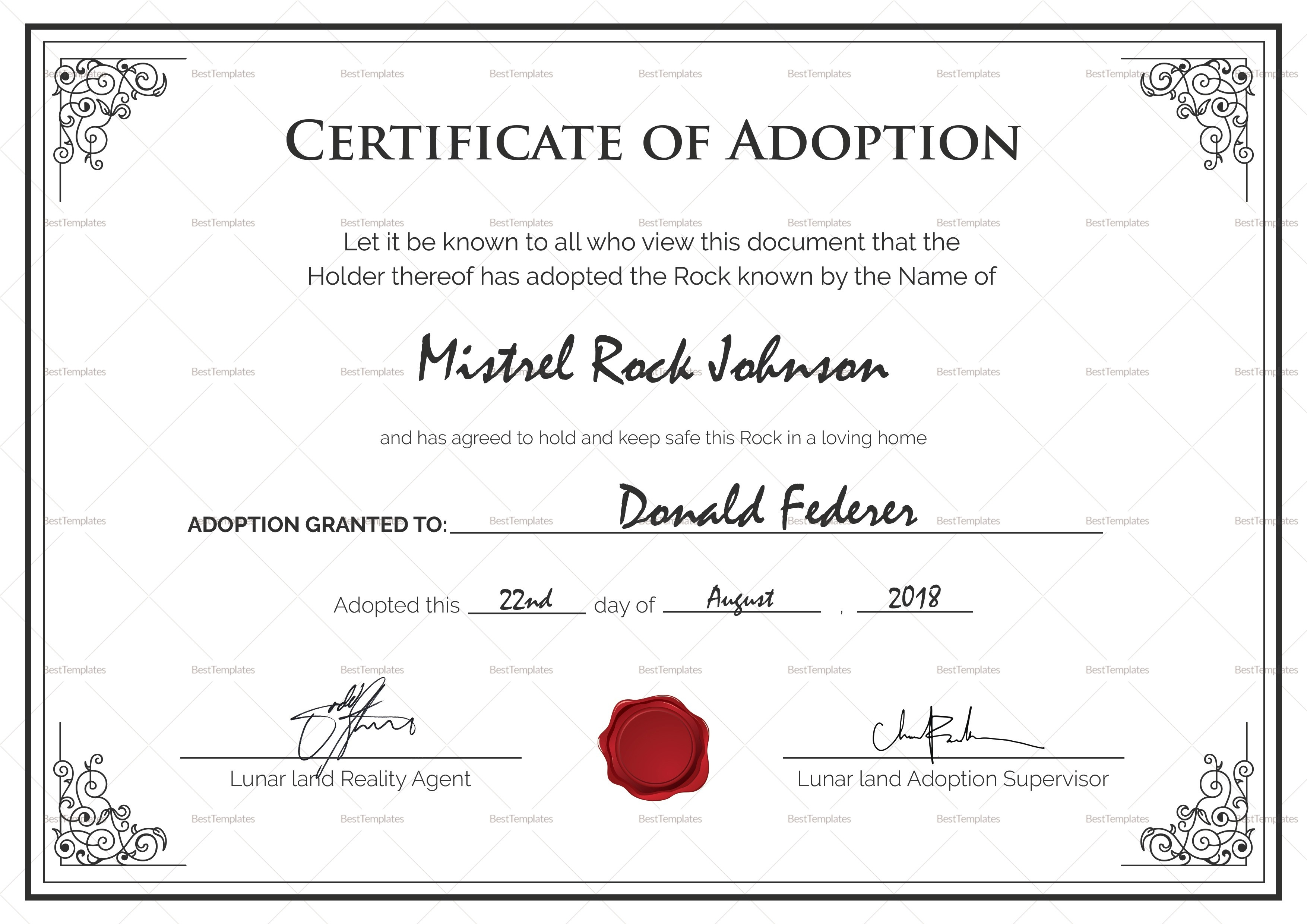 006 Adoption Certificate Template Best Birth Design In Psd Word Of - Free Printable Adoption Certificate