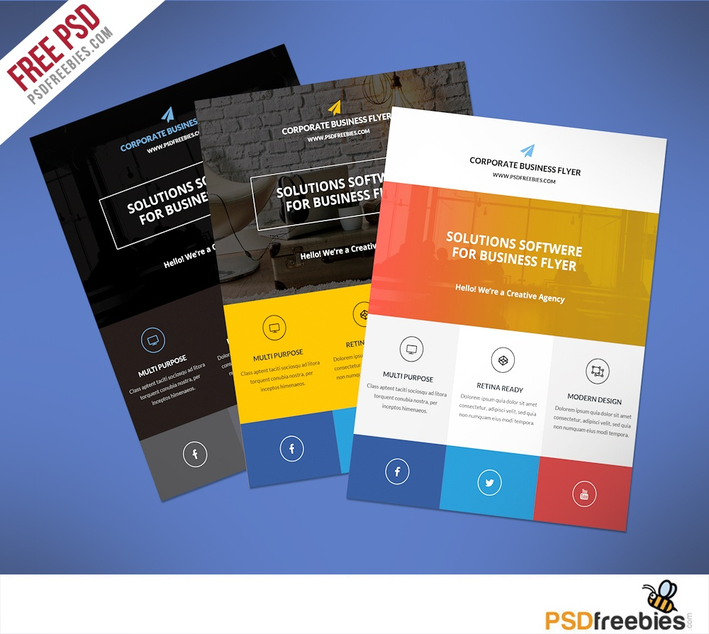 009 Free Printable Flyer Templates Business Flat Clean Corporate Psd - Free Printable Flyers