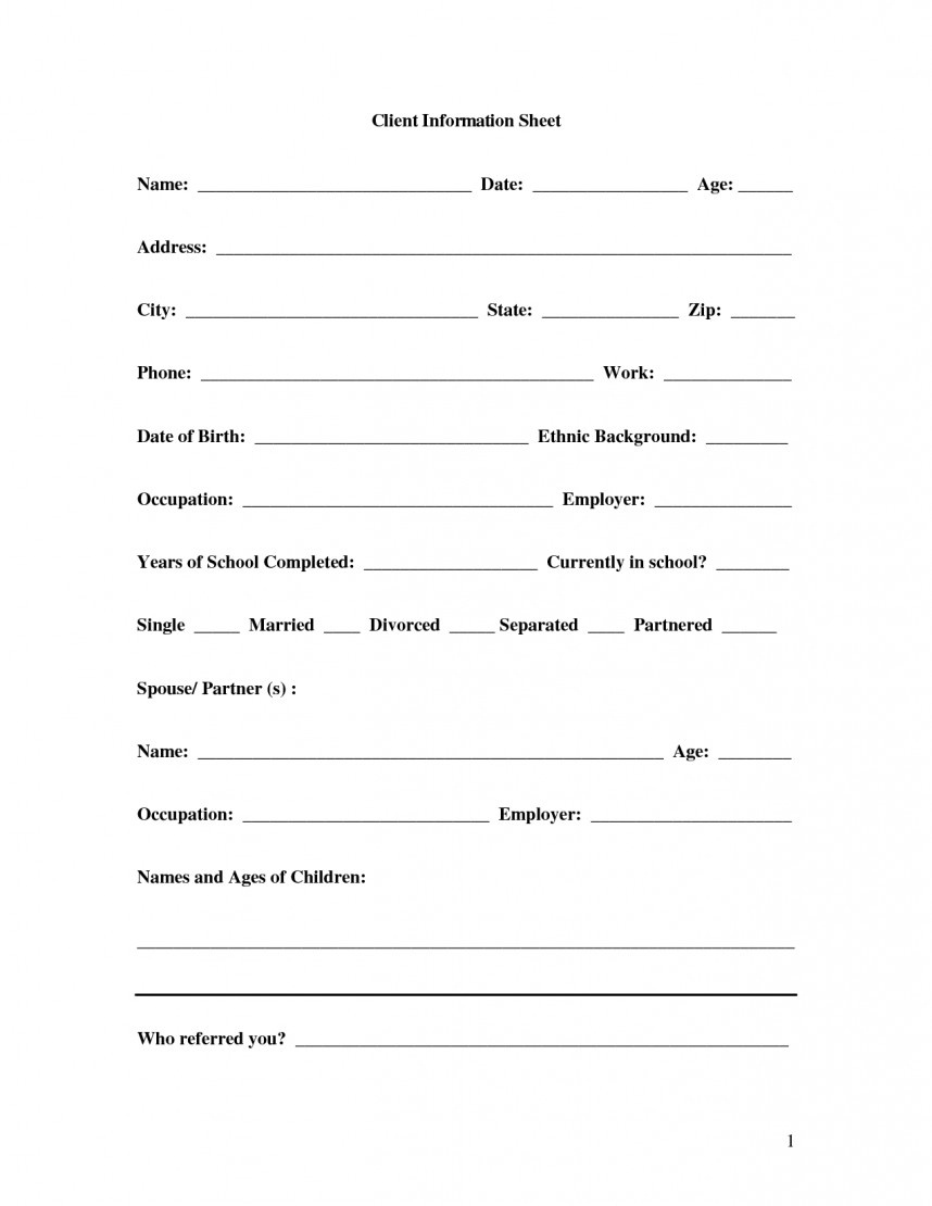 010 New Customer Form Template Free Best Of Client Information Sheet - Free Printable Customer Information Sheets