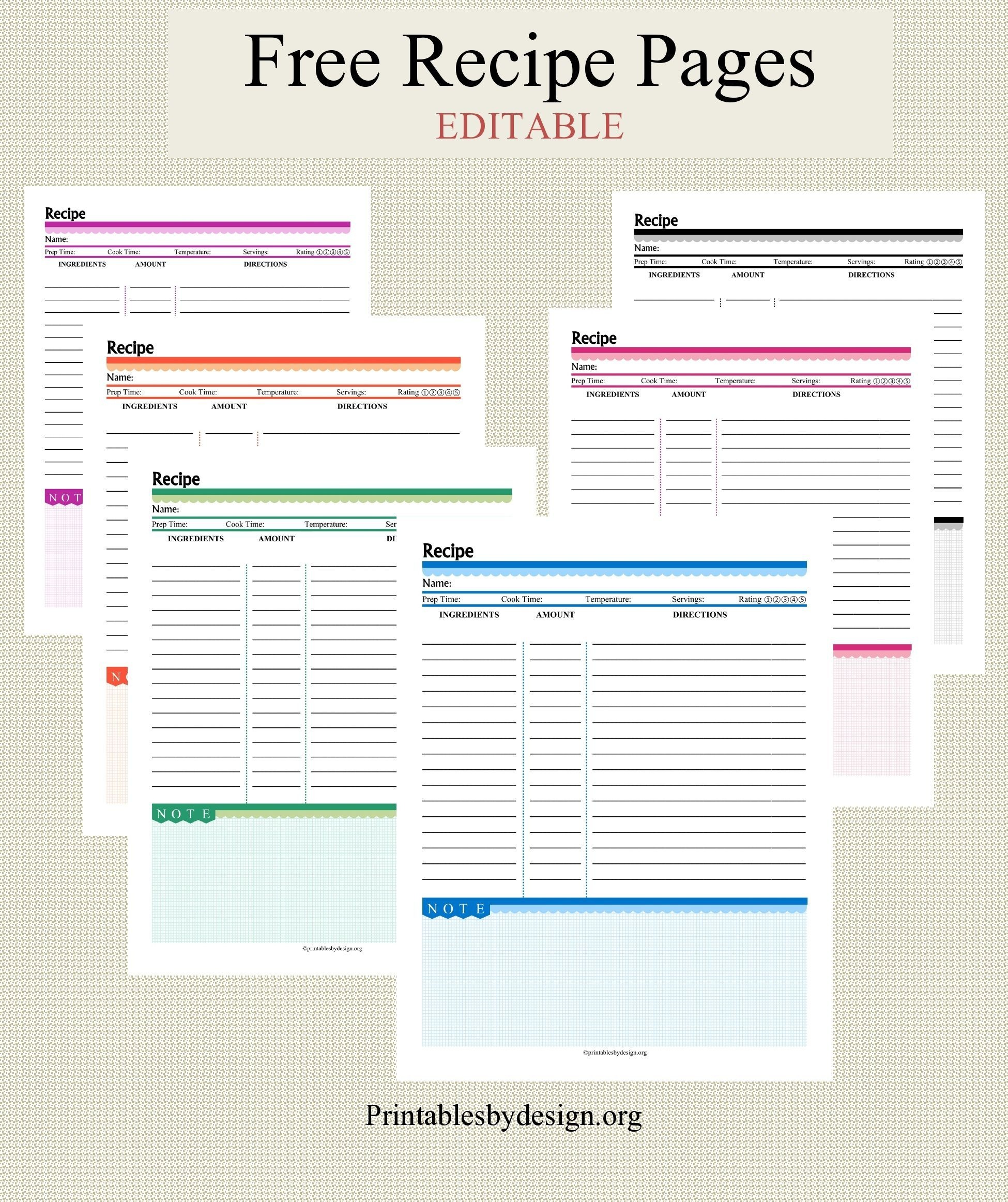 012 Free Recipe Book Template ~ Ulyssesroom | Fine. Food | Recipe - Free Printable Recipe Book Pages