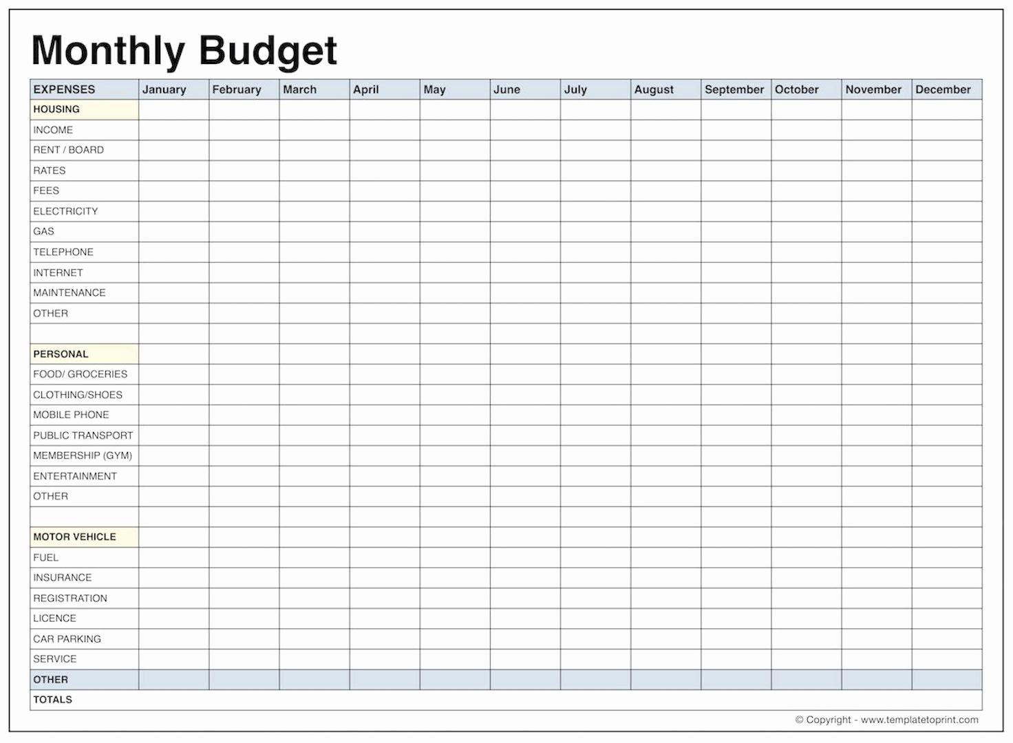 013 Printable Monthly Budget Template Free Best Of Blank Bud Pdf - Free Printable Budget Template Monthly