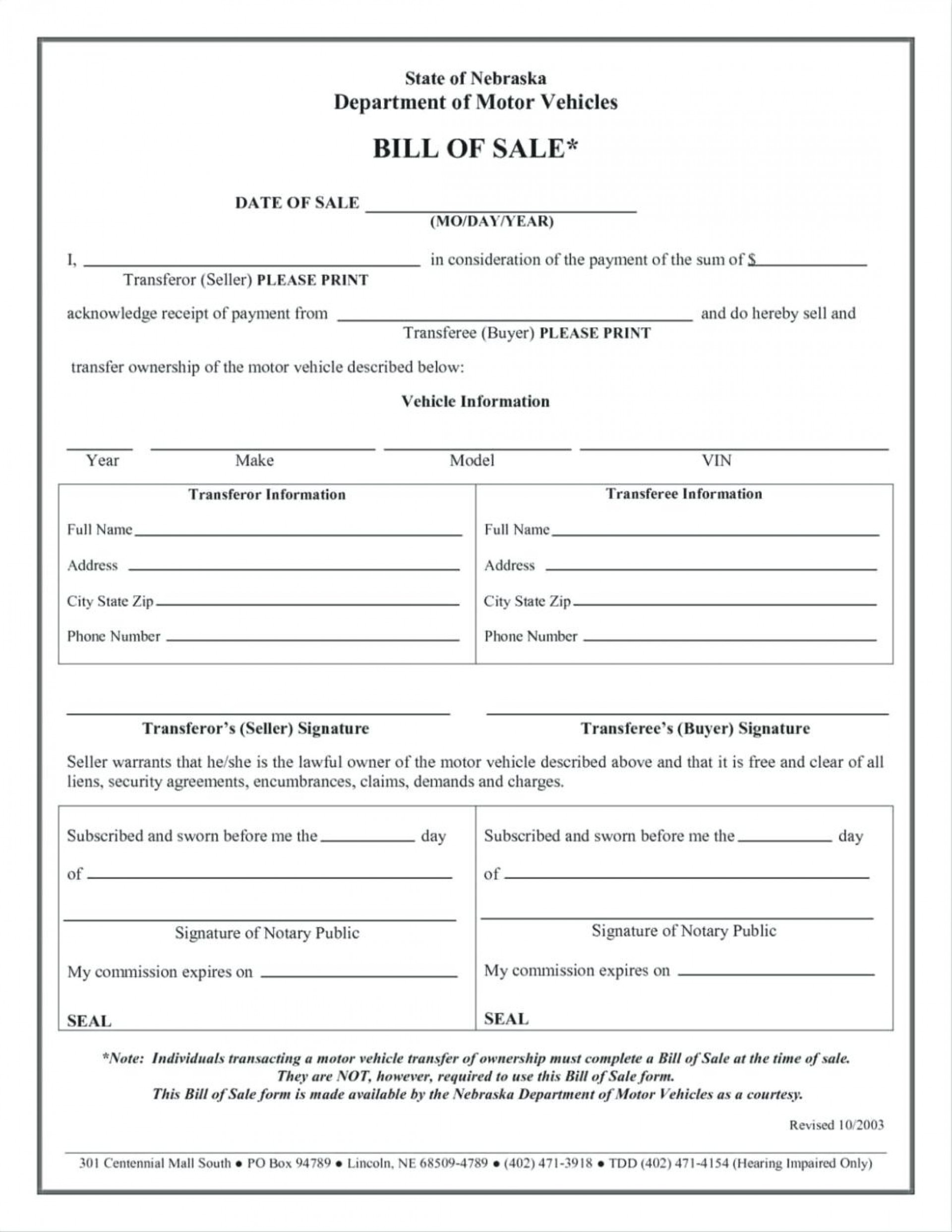 024 Free Printable Bill Of Sale Form Vehicle Template And For Mobile - Free Printable Mobile Home Bill Of Sale