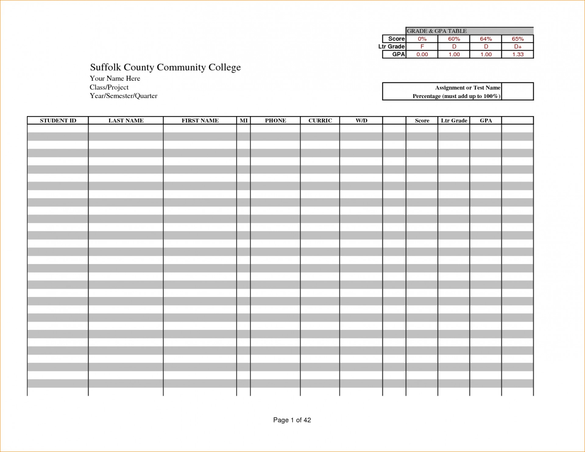 025 Teacher Grade Book Template Ideas Free Excel Gradebook 3605 - Free Printable Gradebook