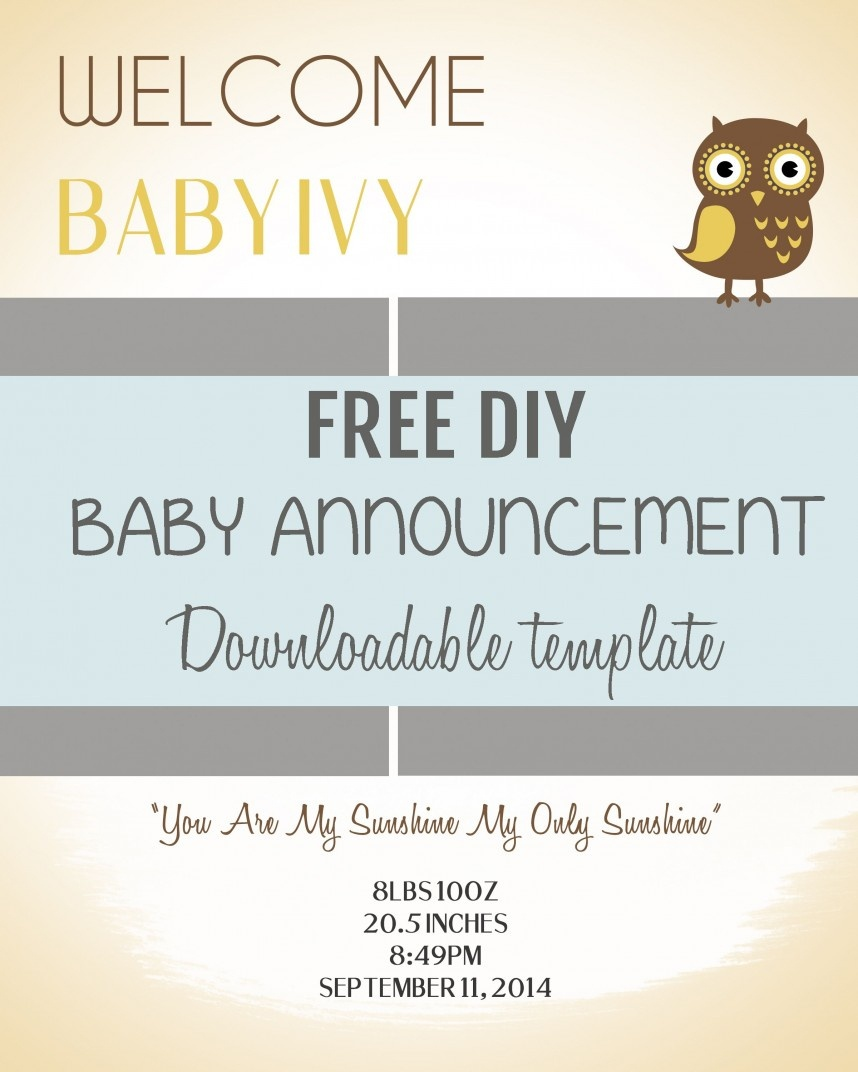 026 Free Birth Announcements Templates Template Phenomenal Ideas Diy - Free Birth Announcements Printable