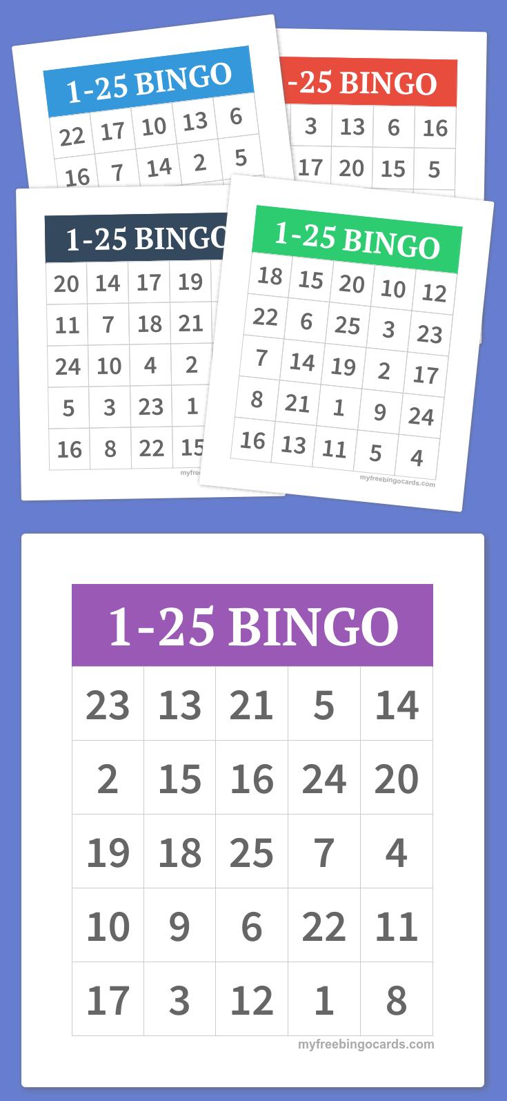 1-25 Bingo   Diy   Alphabet Bingo, Bingo Cards, Bingo - Free Printable Number Bingo Cards 1 20