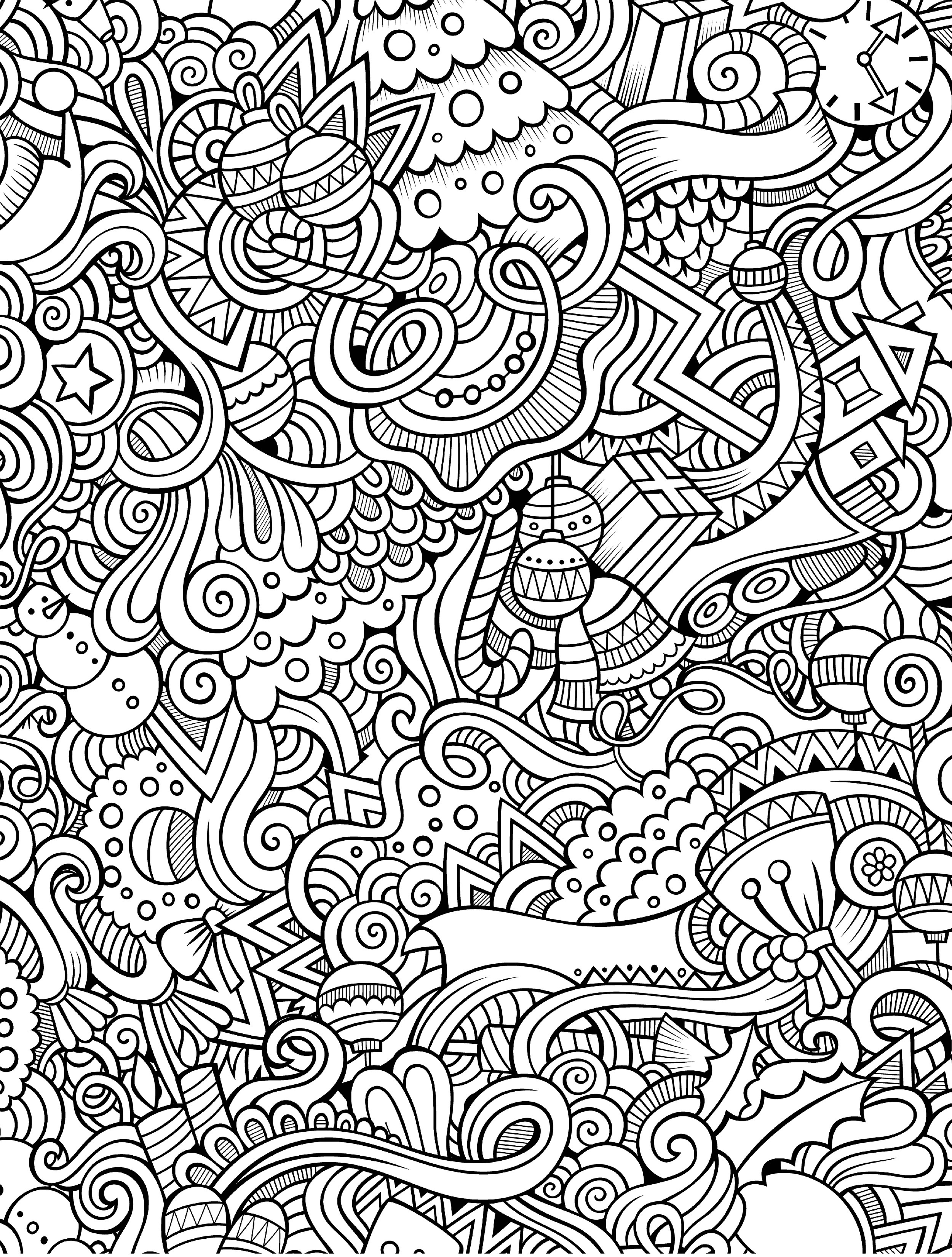10 Free Printable Holiday Adult Coloring Pages - Free Printable Coloring Sheets