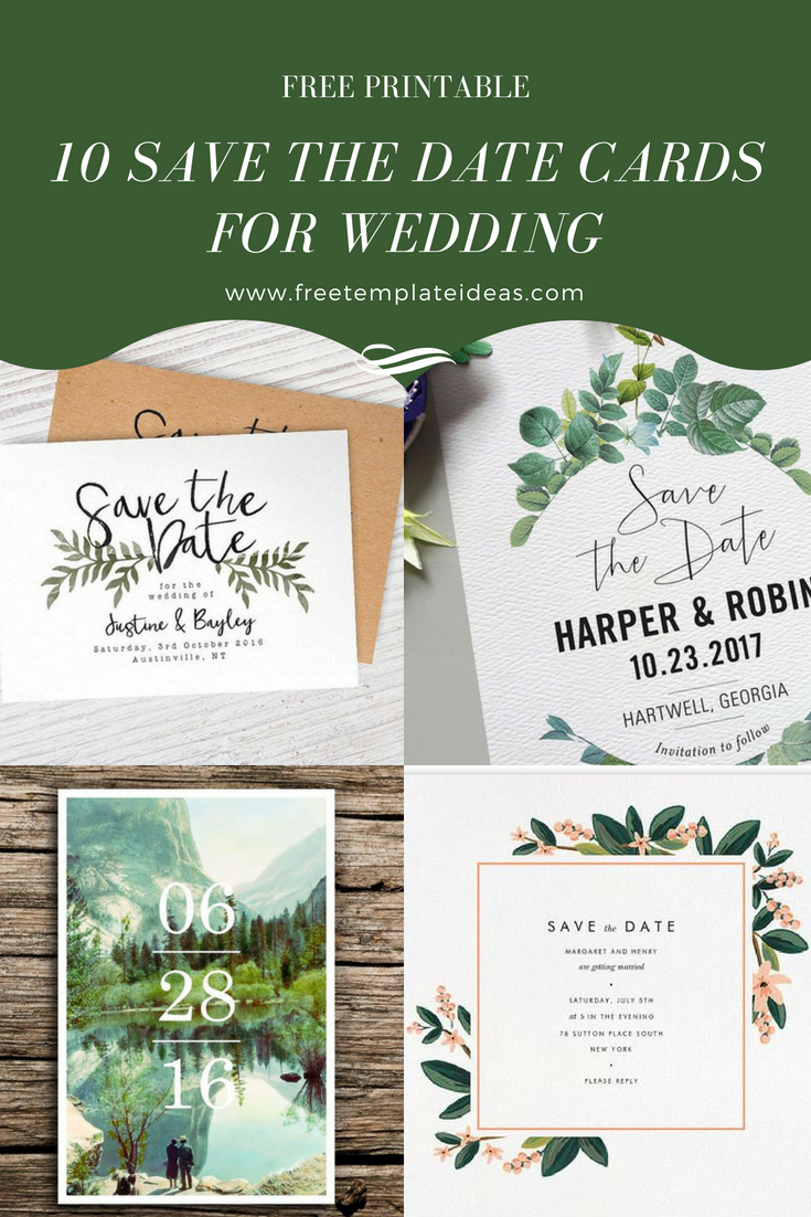 """10 Free Printable Save The Date Cards For Weddings 