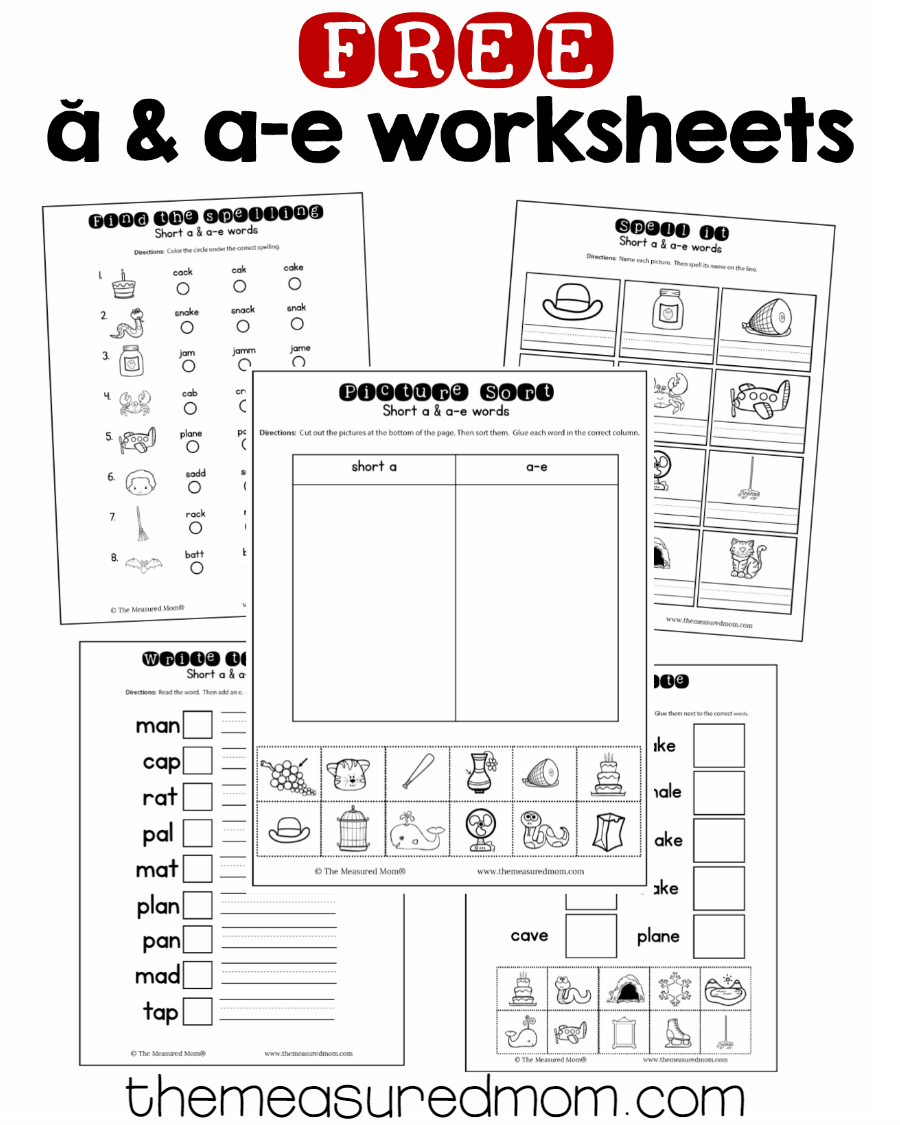 10 Free Short A & A-E Worksheets - The Measured Mom - Free Printable Phonics Assessments