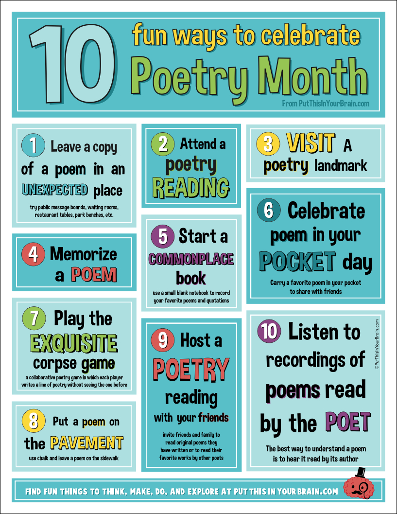 10 Fun Ways To Celebrate Poetry Month! - Put This In Your Brain - Free Printable Poetry Posters