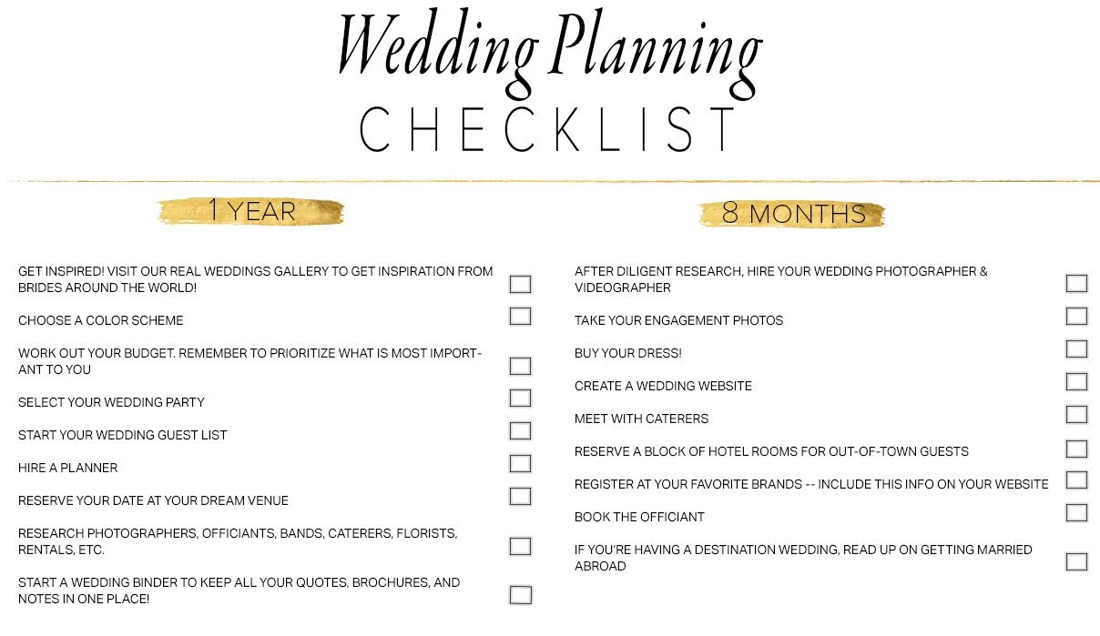 11 Free, Printable Wedding Planning Checklists - Free Printable Wedding Organizer Templates