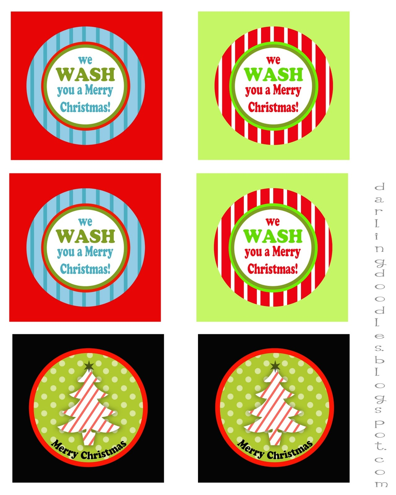 12 Days Of Gift-Mas, Gift #1 - Darling Doodles - We Wash You A Merry Christmas Free Printable