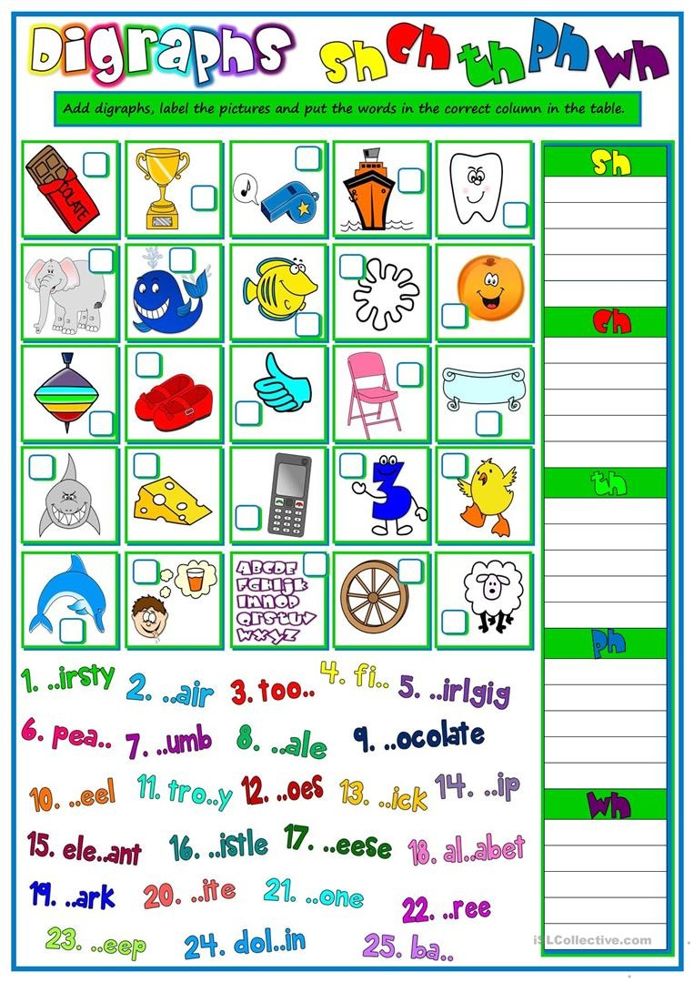 13 Free Esl Digraphs Worksheets - Free Printable Ch Digraph Worksheets