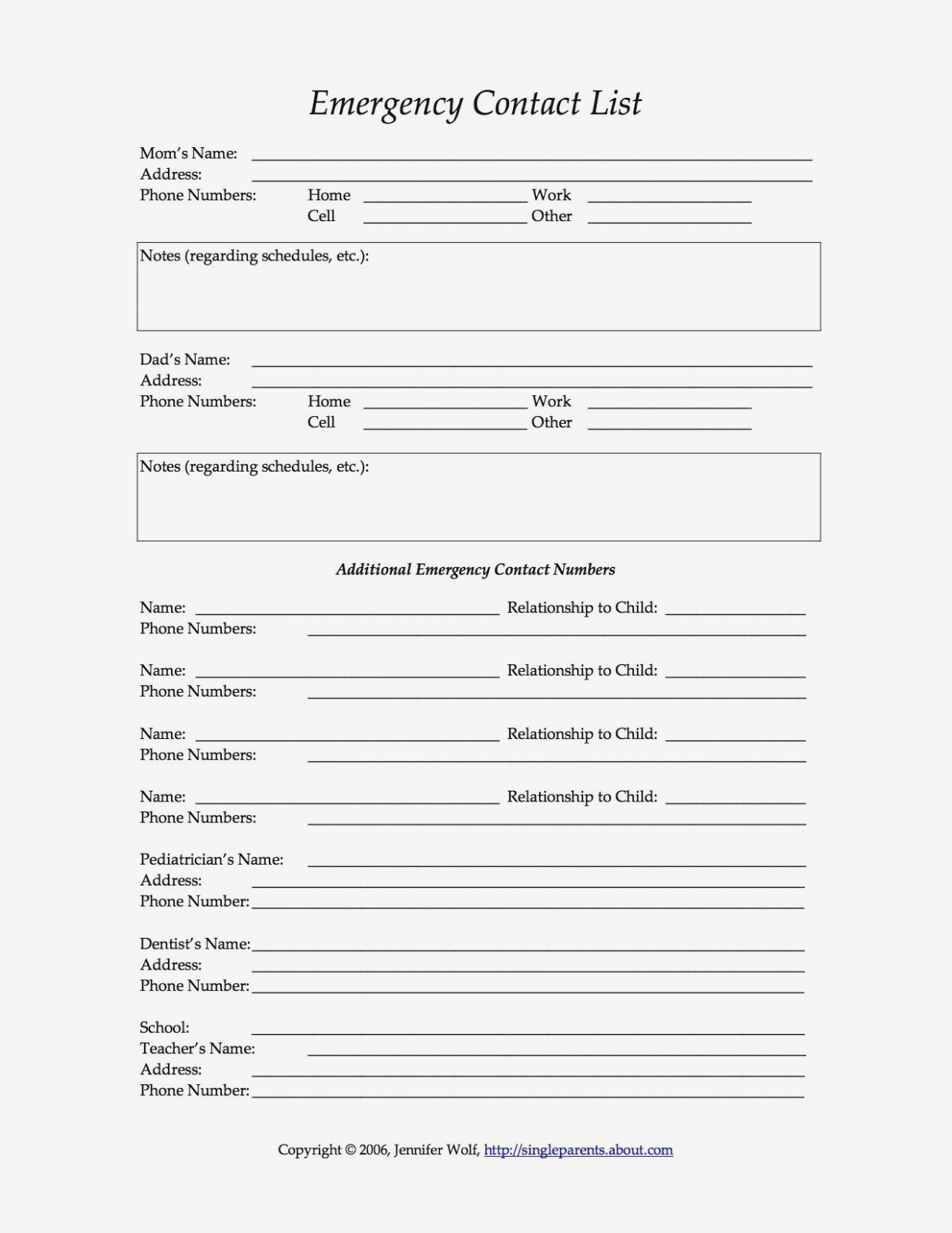 13 Free Printable Forms For Single Parents | Daycare: Recipes, Forms - Free Printable Daycare Forms For Parents