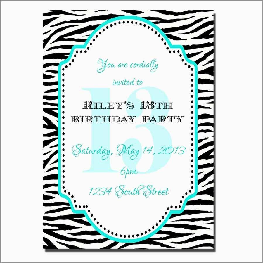 13Th Birthday Invitation Templates Free Awesome 18 Teenage Birthday - 13Th Birthday Party Invitations Printable Free