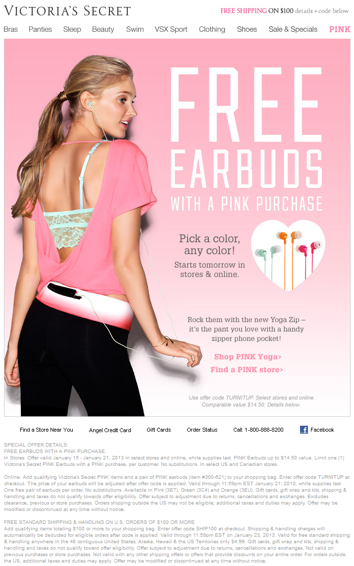 $15 Earbuds Free With Any Pink Purchase At Victorias Secret, Or - Free Printable Coupons Victoria Secret