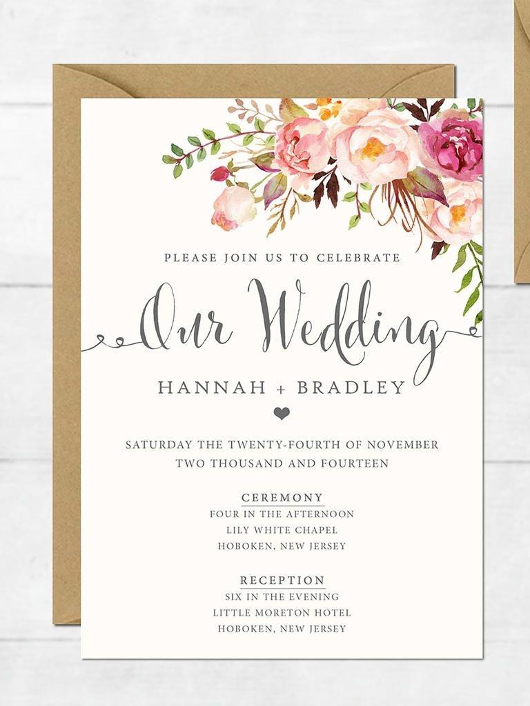 16 Printable Wedding Invitation Templates You Can Diy   Wedding - Free Printable Wedding Invitation Templates