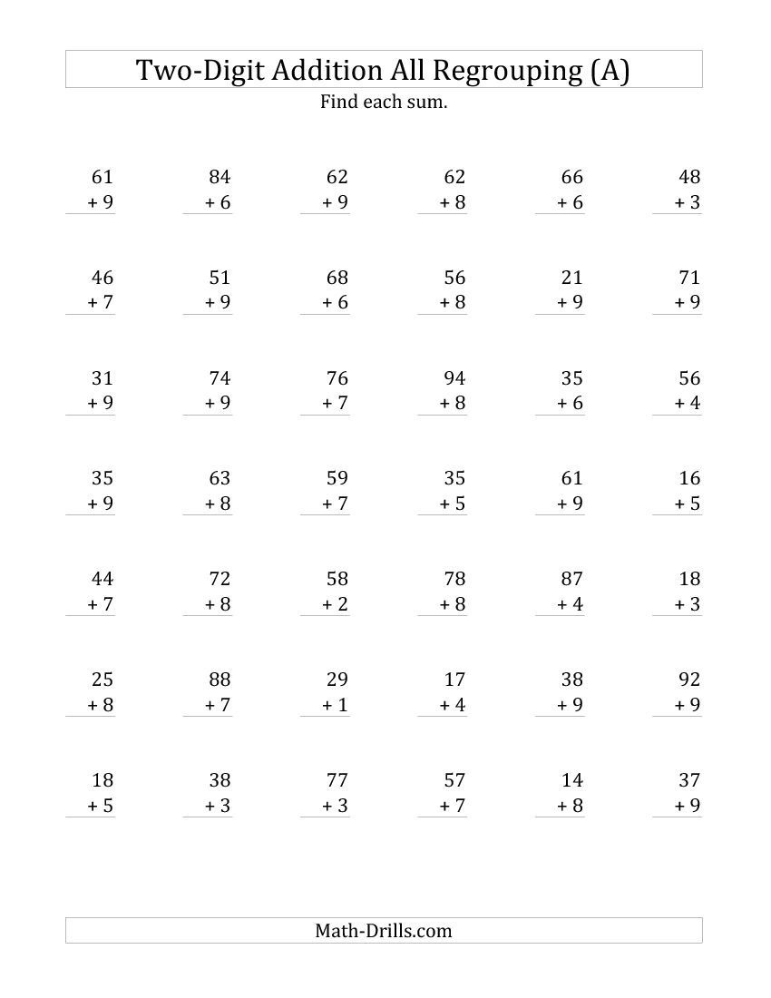 2-Digit Plus 1-Digit Addition With All Regrouping (A) | Math - Free Printable Two Digit Addition Worksheets