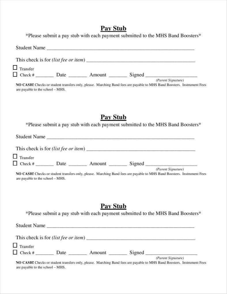 20+ Free Pay Stub Templates - Free Pdf, Doc, Xls Format Download - Free Printable Blank Check Stubs