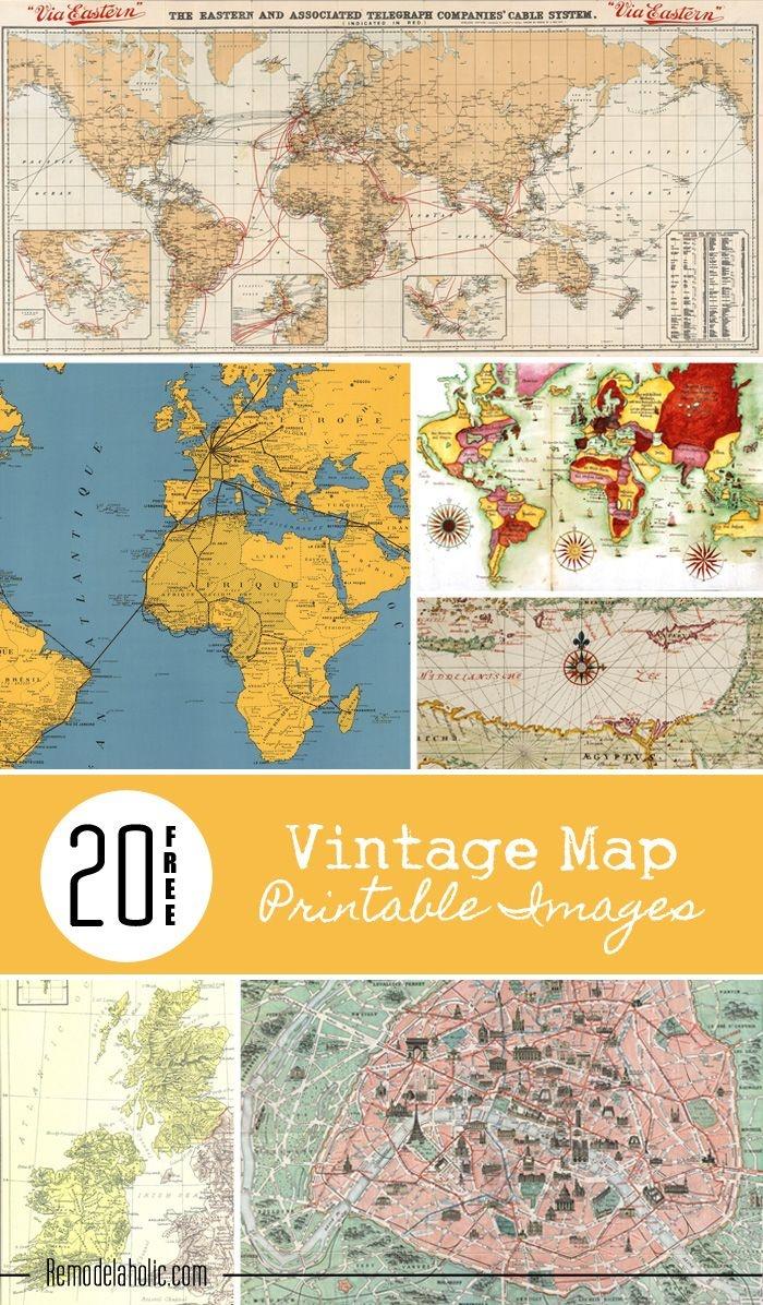 20 Free Vintage Map Printable Images   Remodelaholic #art - Free Printable Custom Maps