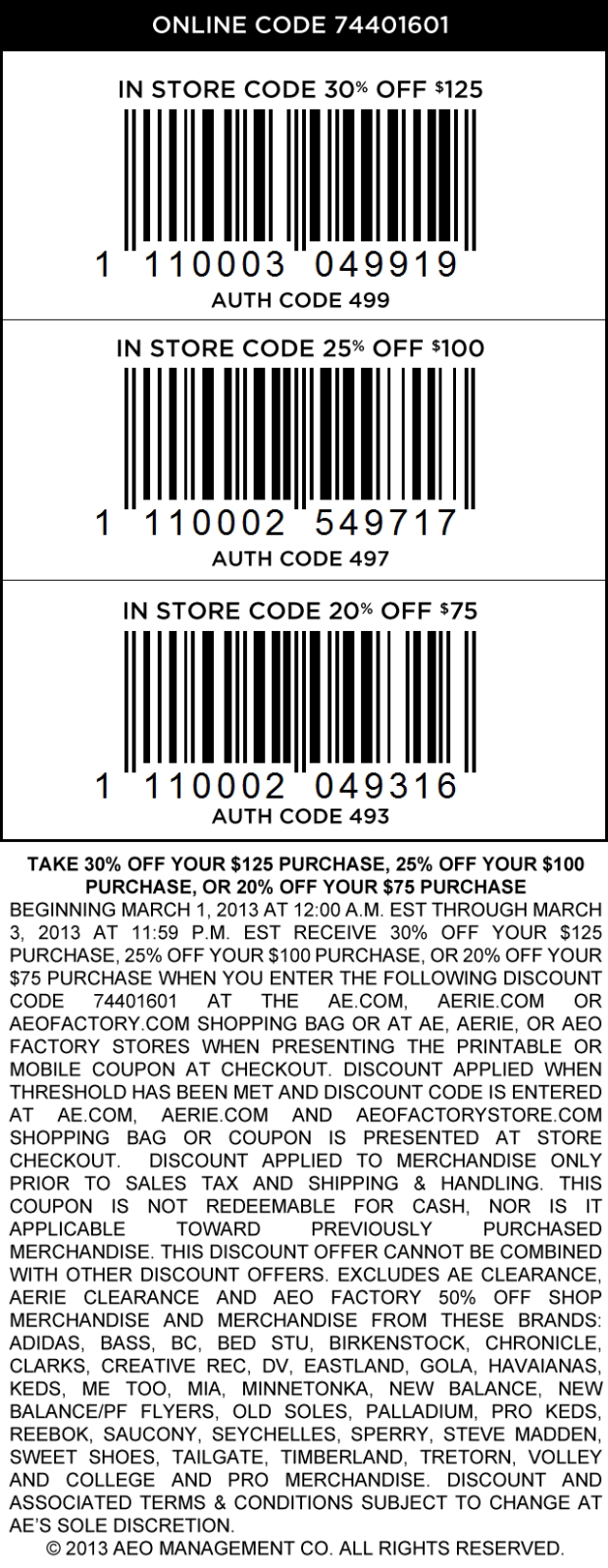 20% Off $75 And More At American Eagle Outfitters, Or Online Via - Free Printable American Eagle Coupons
