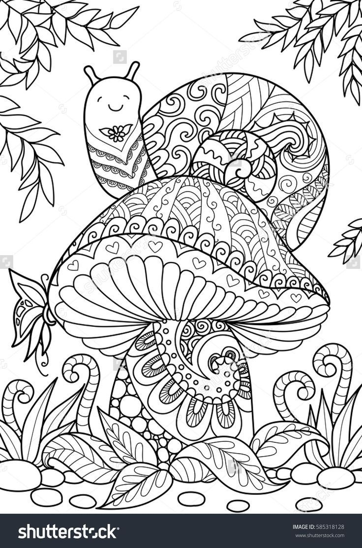 204 Best Adult Colouring Mushrooms Toadstools Zentangles New - Free Printable Mushroom Coloring Pages