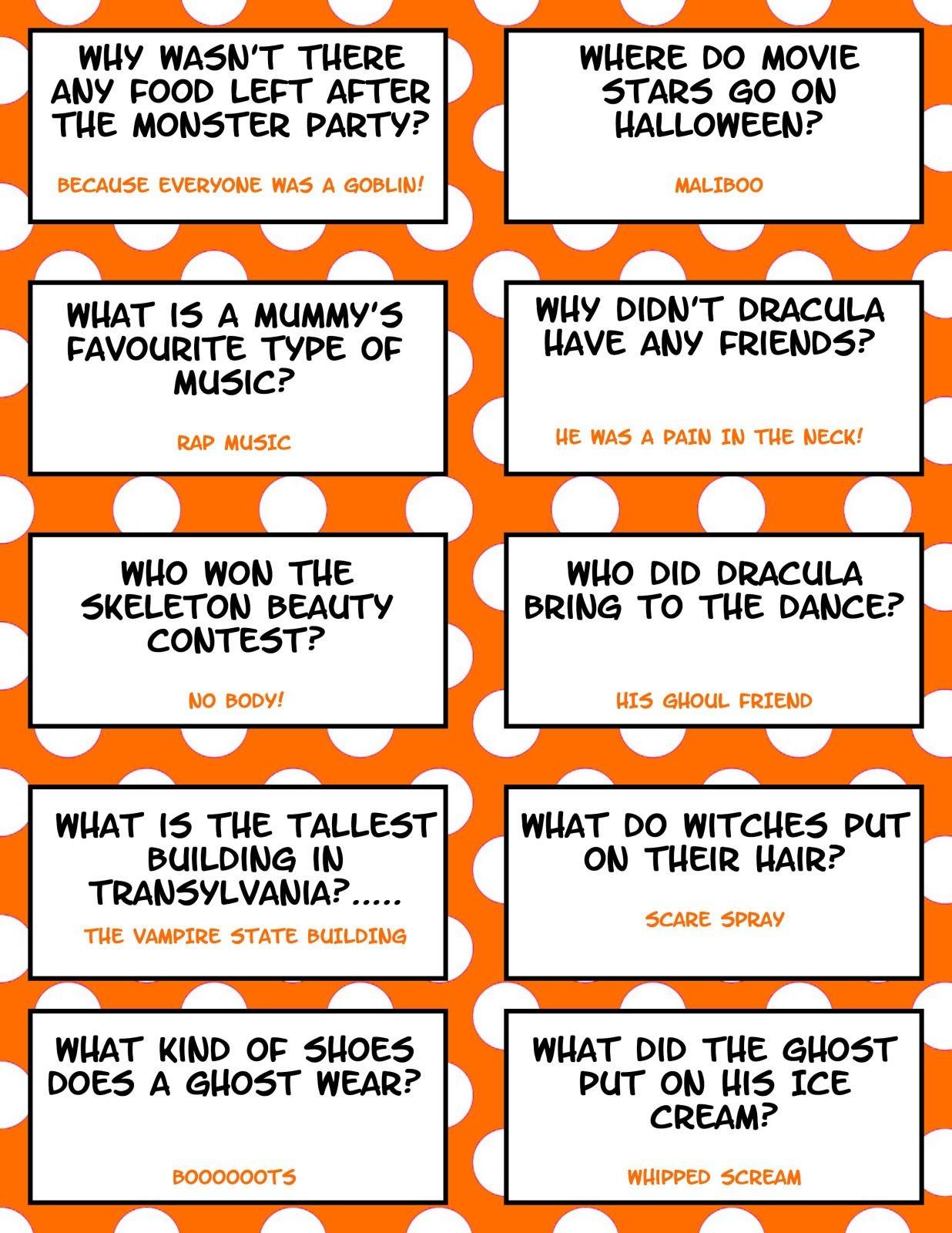 21 Hilarious Halloween Lunch Box Jokes For Kids | Books For Jordan - Free Printable Jokes For Adults