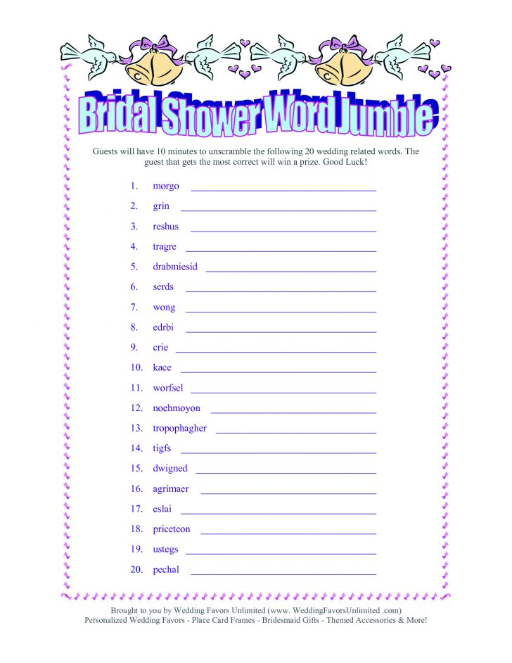 Free Printable Bridal Shower Games Word Scramble