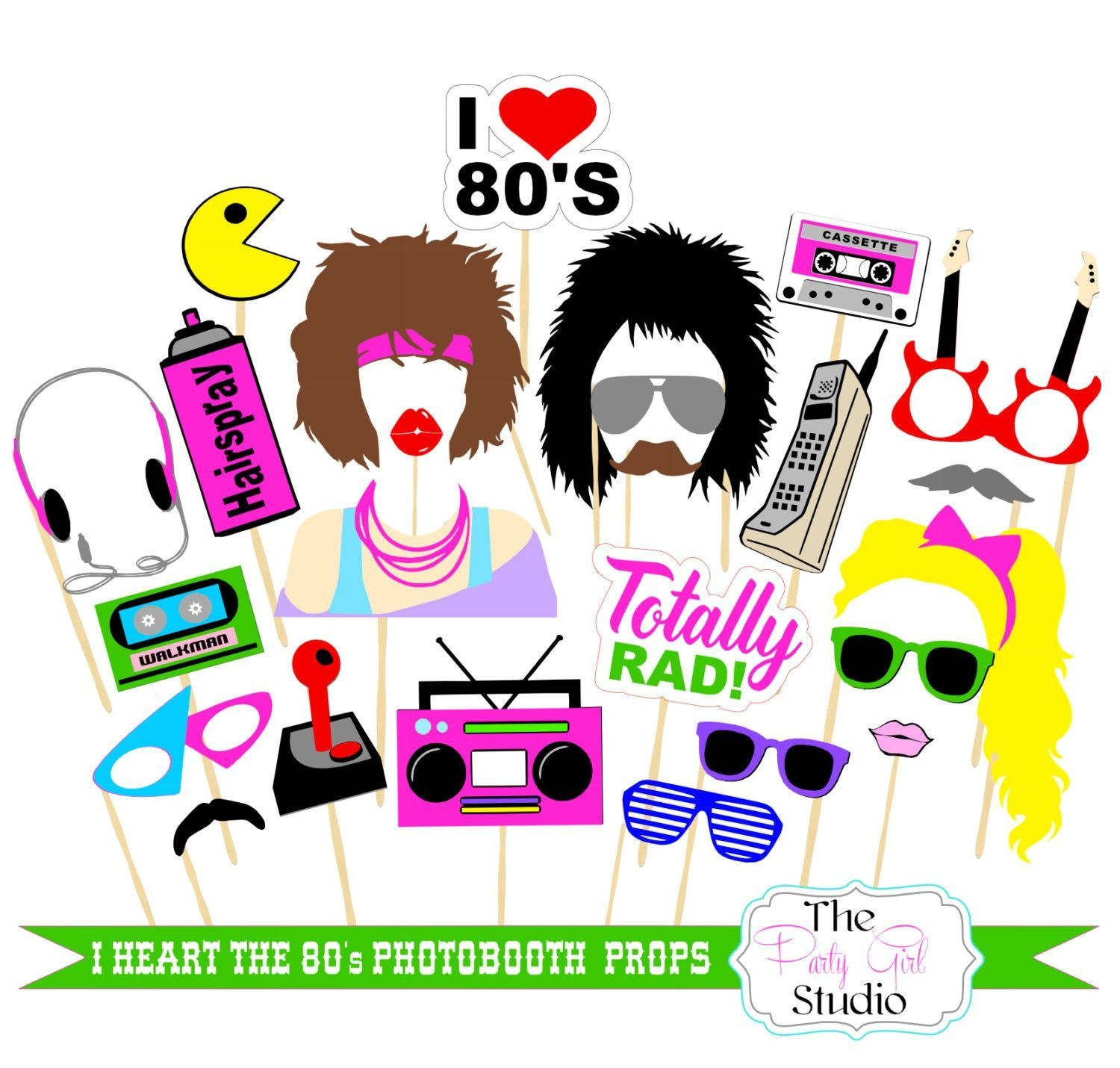 23Pc I Heart The 80's Themed Photo Booth Props/wedding Photobooth - 80S Photo Booth Props Printable Free