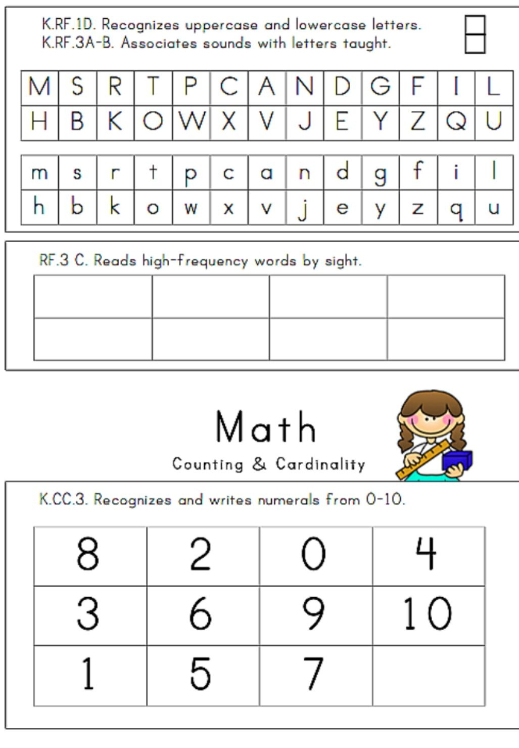 24 Page, Illustrated Kindergarten Assessment   Assessments - Free Printable Informal Math Assessments