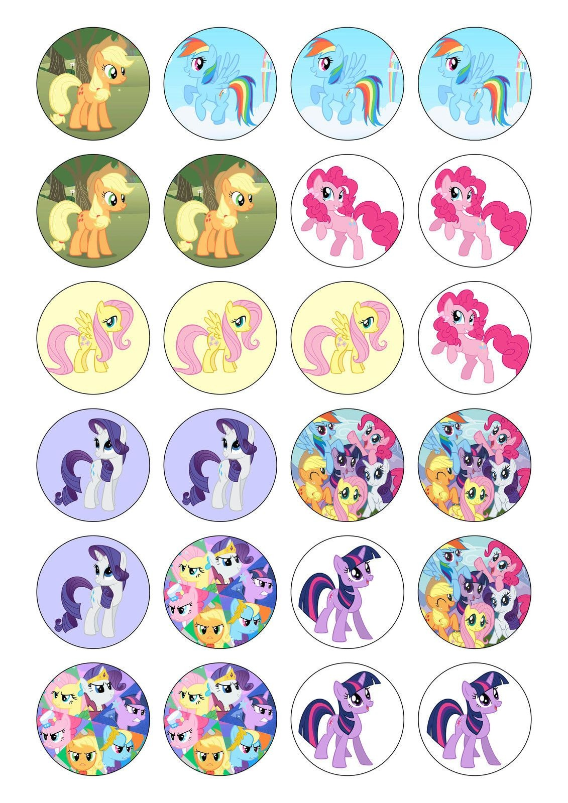 24Pre-Cut Edible My Little Pony Cake/cupcake Toppers Plus Free 1G - Free Printable My Little Pony Cupcake Toppers