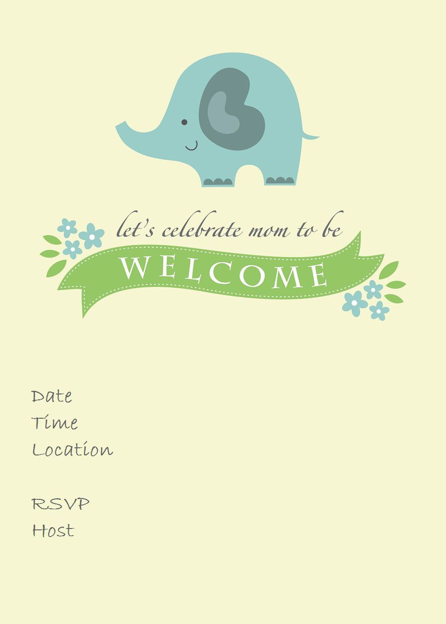 25 Adorable Free Printable Baby Shower Invitations - Free Printable Elephant Baby Shower Invitations
