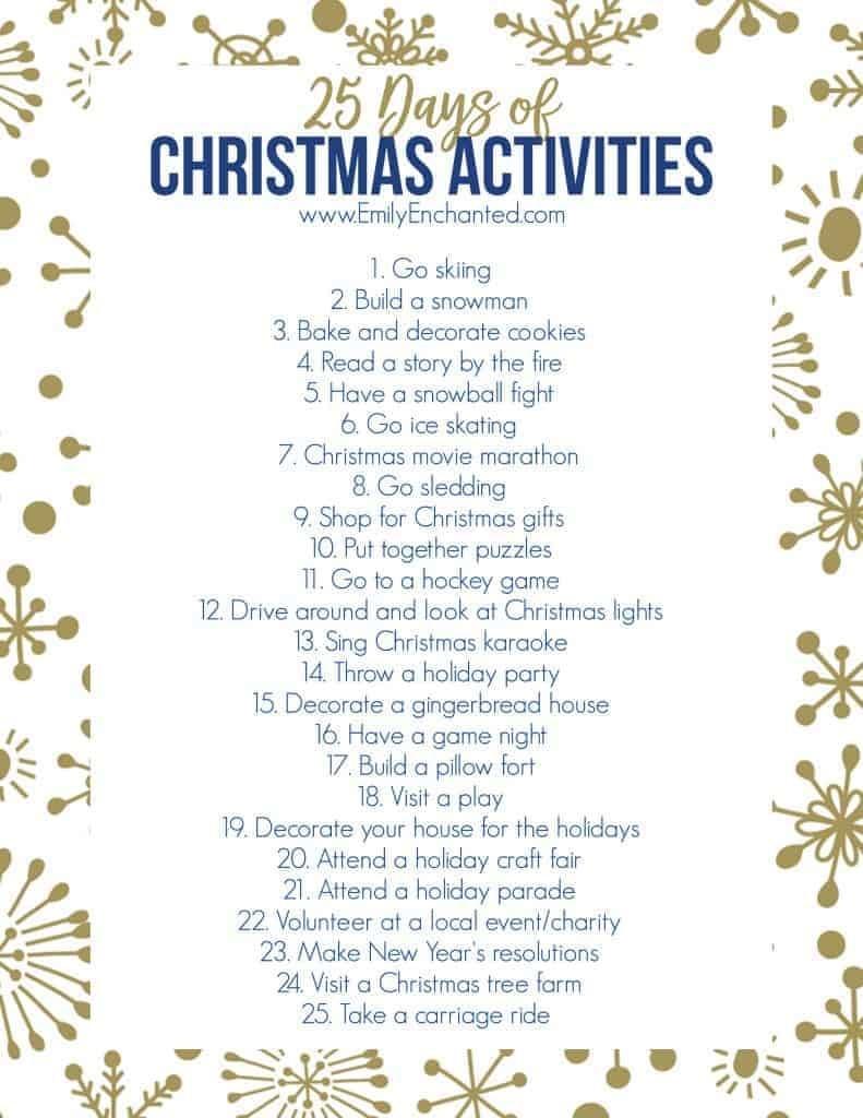 25 Days Of Christmas Activities Printable | Free Printable - Free Printable Christmas Activities