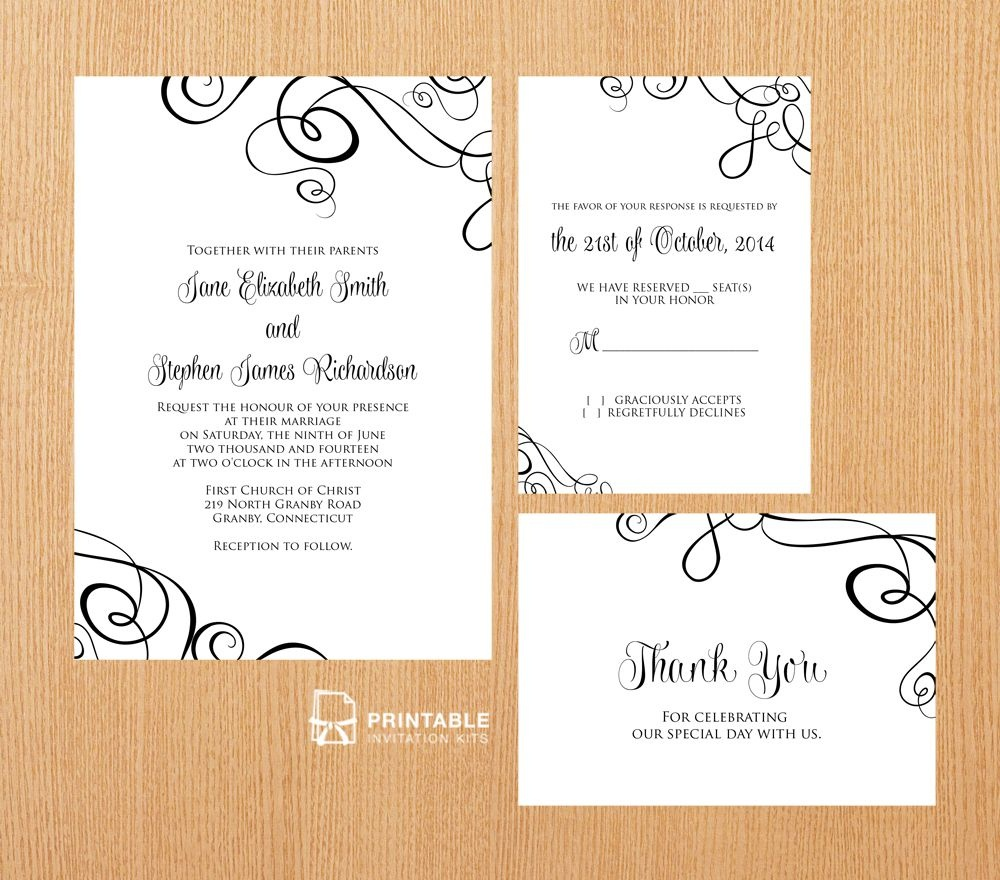 25 Free Printable Wedding Invitations - Free Printable Rsvp Cards