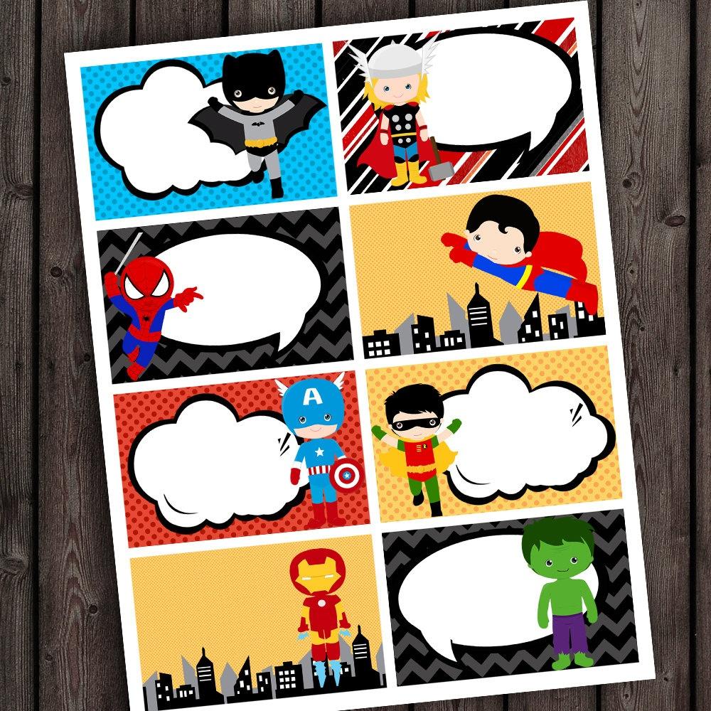 25 Images Of Super Hero Printable Template Tags   Unemeuf - Superhero Name Tags Free Printable