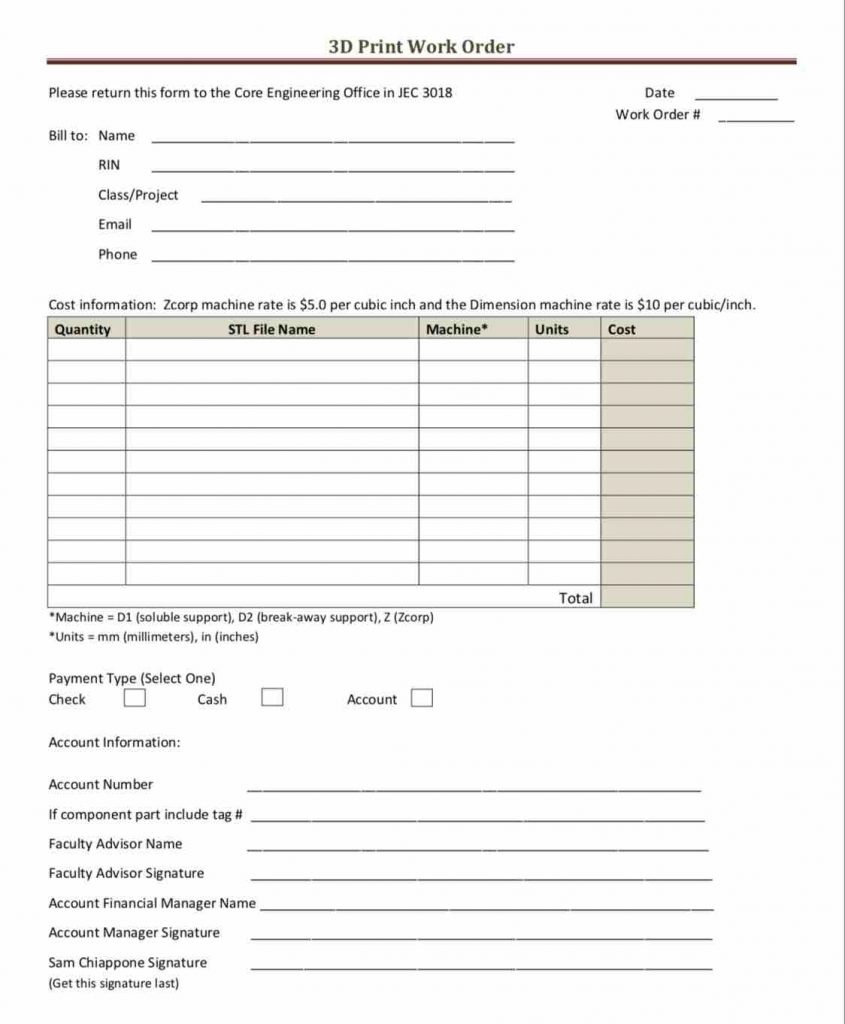27+ Work Order Templates Download - Pdf, Excel, Doc Formats! - Free Printable Work Order Template