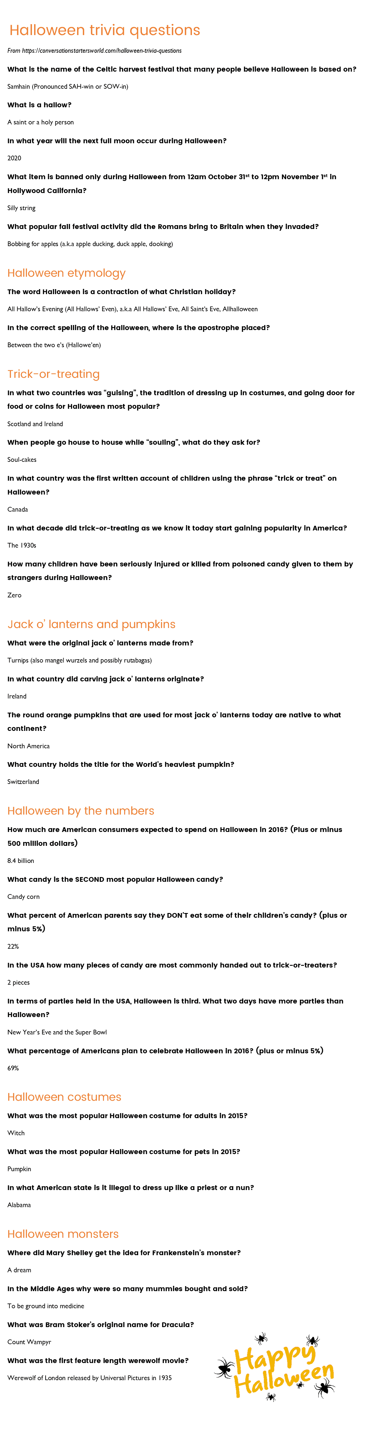 29 Challenging Halloween Trivia Questions - How Many Can You Answer? - Free Printable Trivia Questions And Answers
