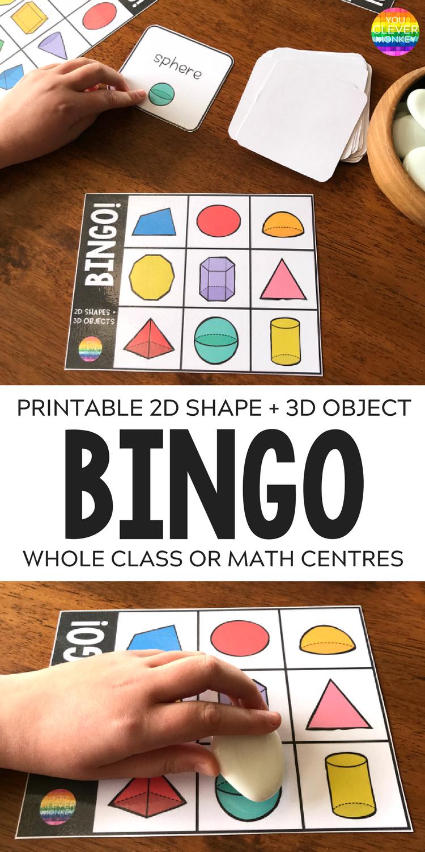 2D Shape + 3D Object Bingo Game   You Clever Monkey - 3D Shape Bingo Free Printable