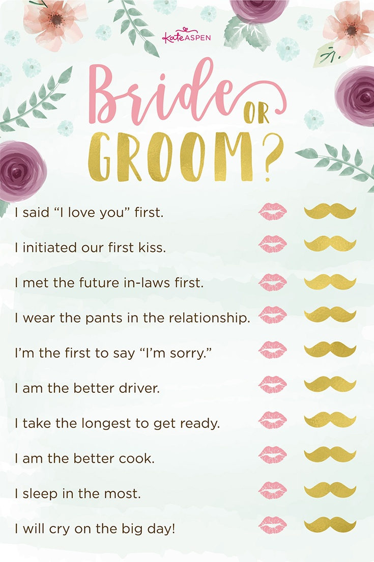3 Bridal Shower Games + Free Printables | Kate Aspen Blog - Free Printable Household Shower Games