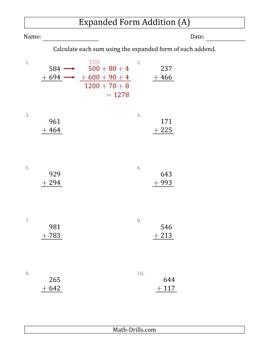 3-Digit Expanded Form Addition (A) - Free Printable Expanded Notation Worksheets