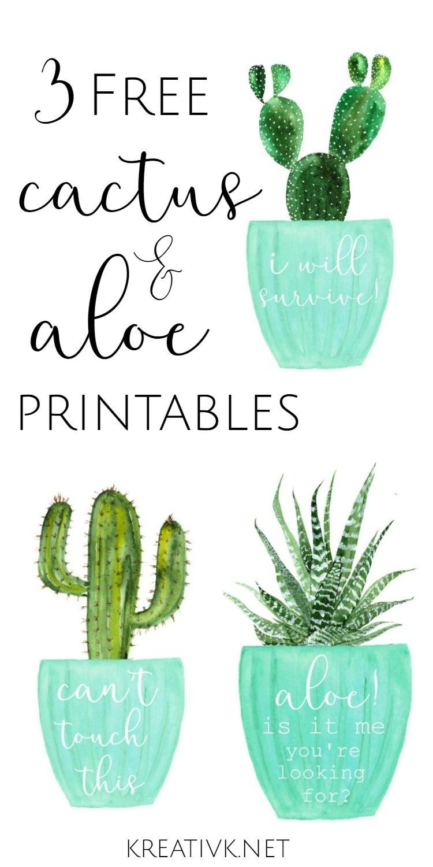 3 Free Cactus & Aloe Printables | Free Printables | Cactus - Free Printable Cactus