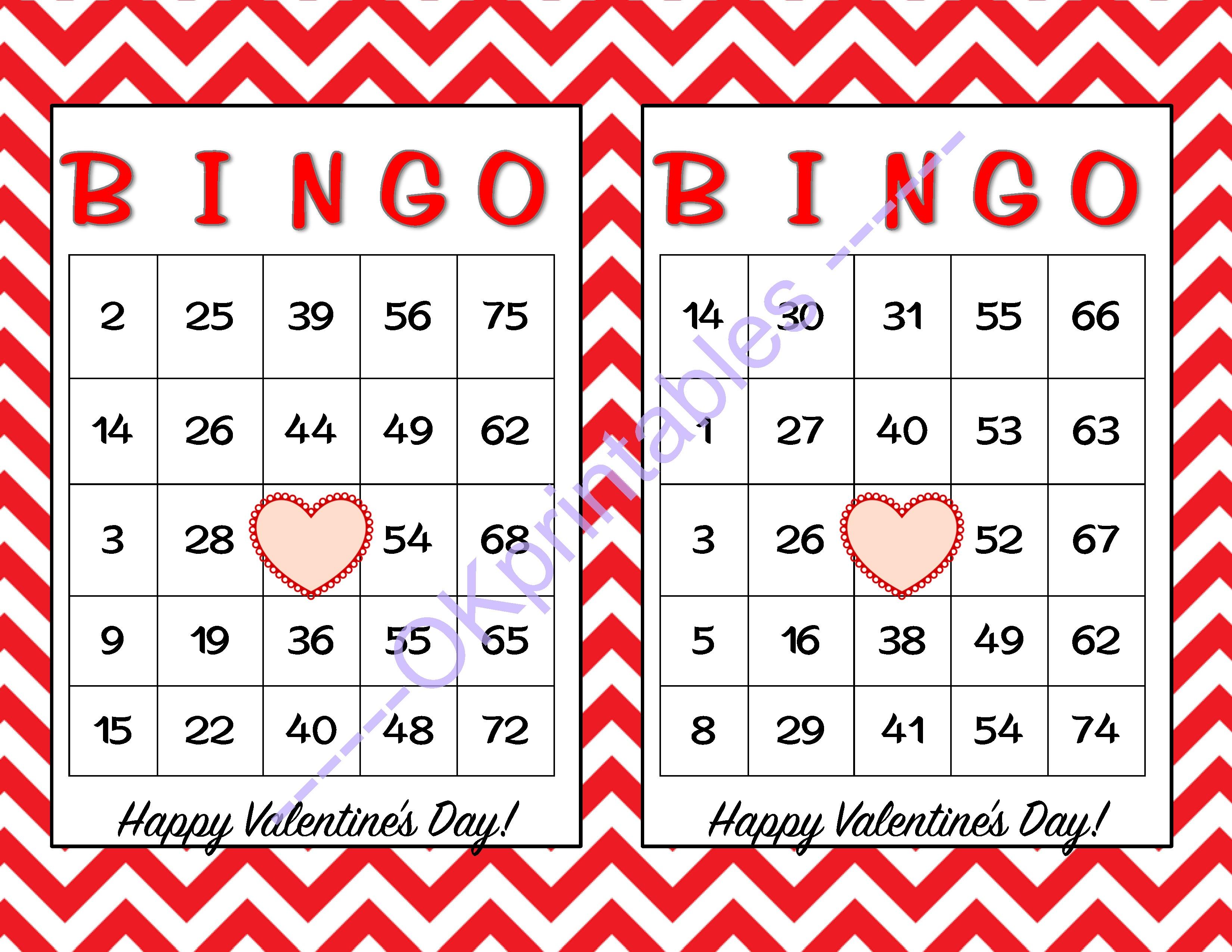 30 Happy Valentines Day Bingo Cards - Printable Valentines Game Party -  School Valentines Game - Free Printable Bingo Cards Random Numbers
