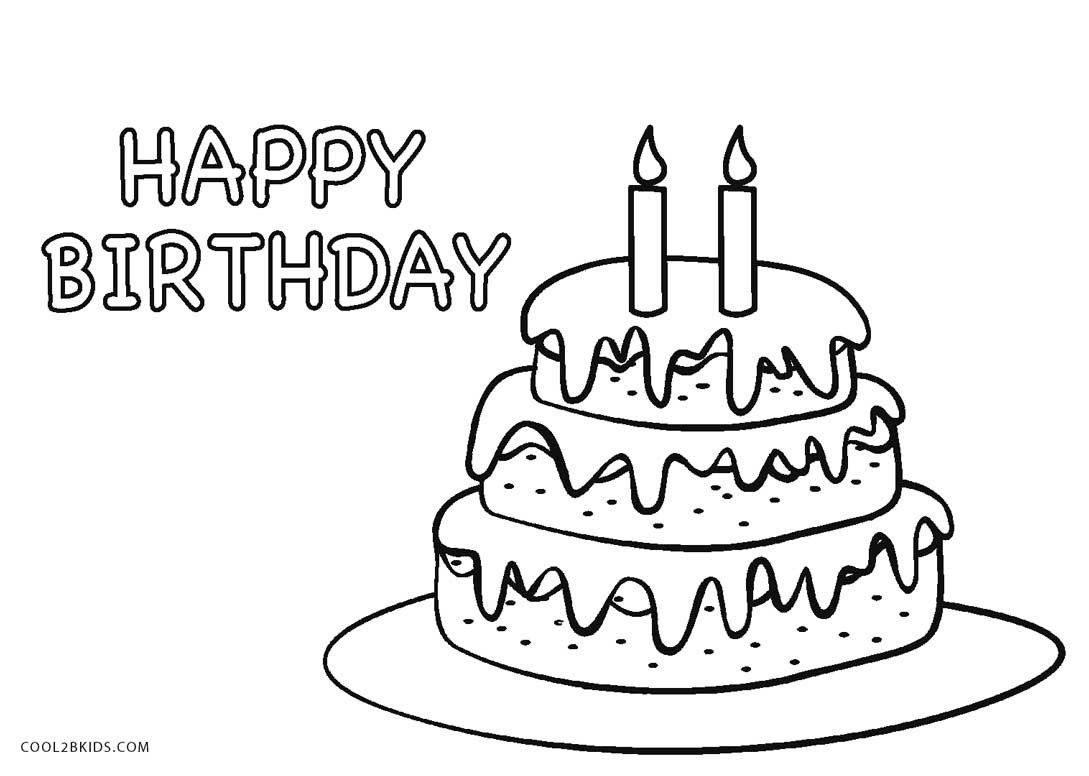 30+ Marvelous Photo Of Birthday Cake Coloring Pages | Birthday Cake - Free Printable Birthday Cake