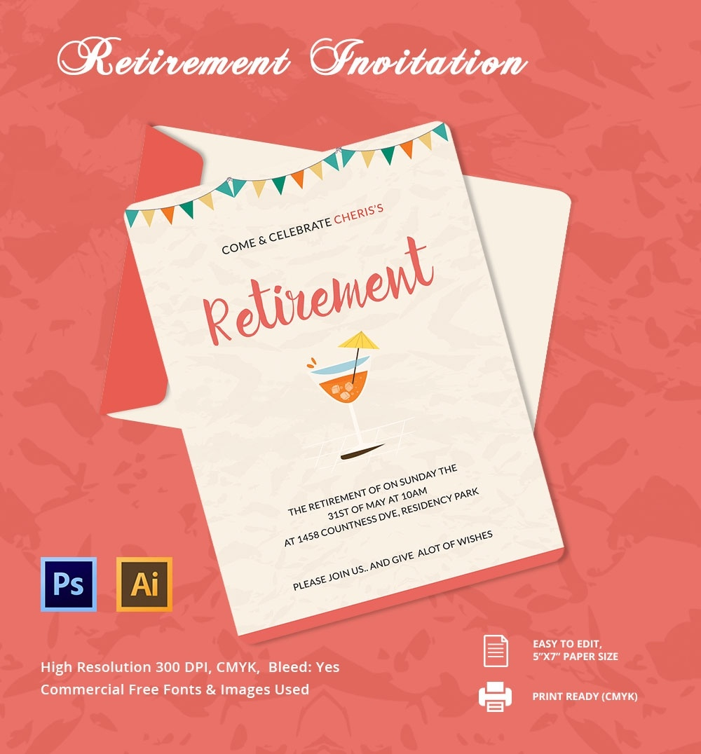 30+ Retirement Invitation Templates - Psd, Ai, Word | Free & Premium - Free Printable Retirement Cards
