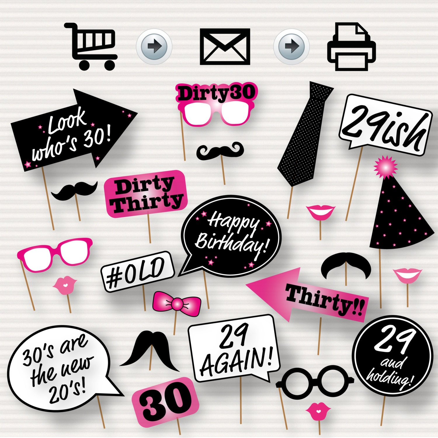 30Th Birthday Party Printable Photo Booth Props Pink   Etsy - Free Printable 30Th Birthday Photo Booth Props