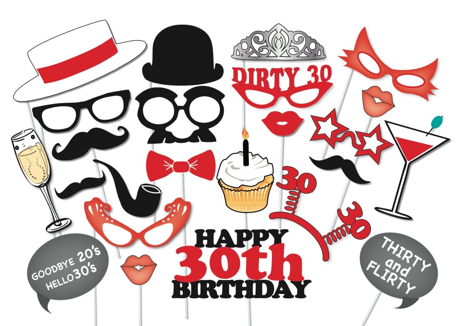 30Th Birthday Photobooth Party Props Set 26 Piece Printable   Etsy - Free Printable 30Th Birthday Photo Booth Props