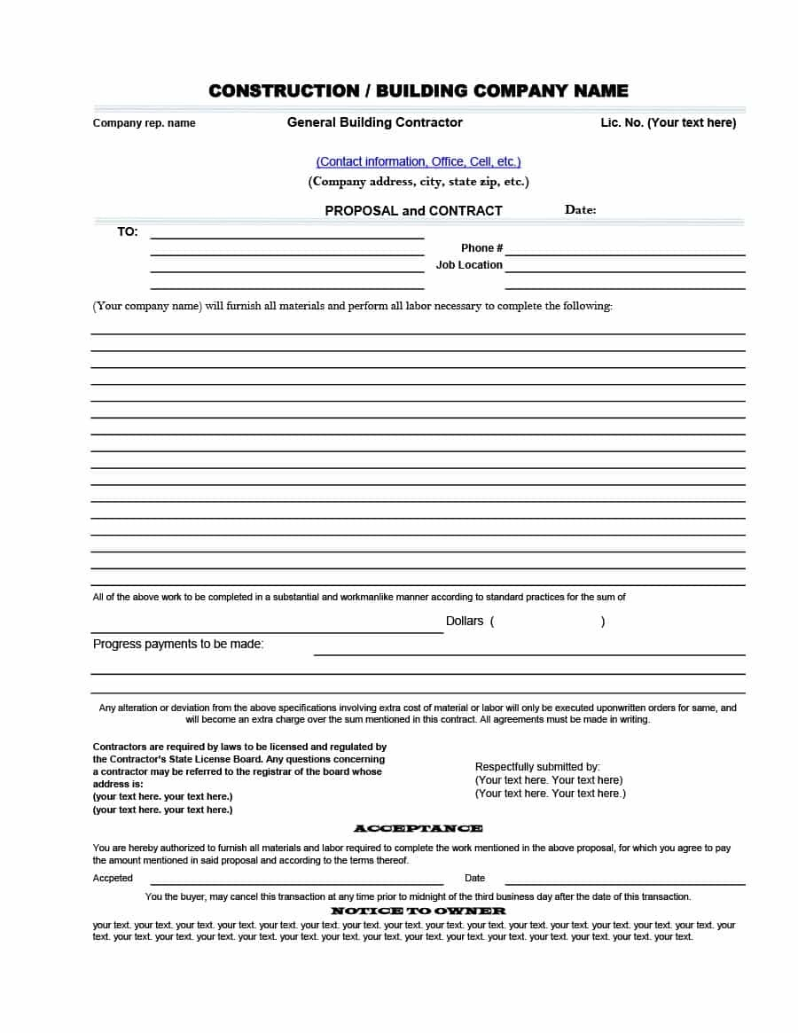 31 Construction Proposal Template & Construction Bid Forms - Free Printable Contractor Proposal Forms