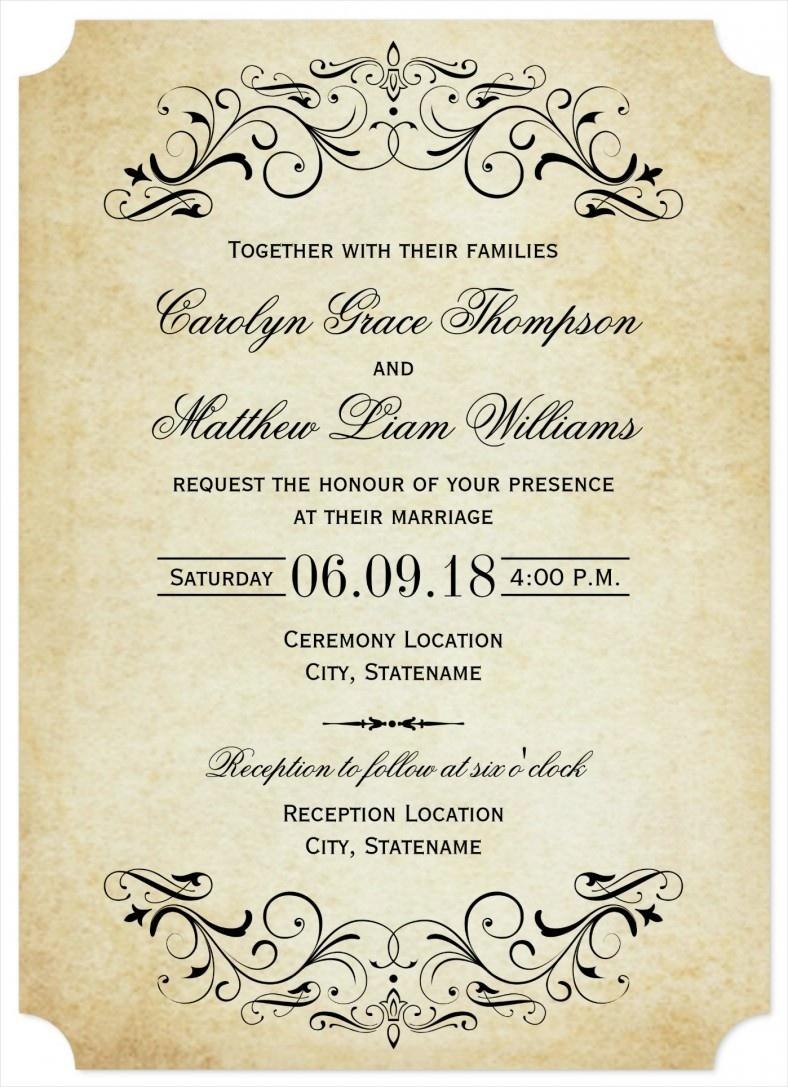 31+ Elegant Wedding Invitation Templates – Free Sample, Example - Play Date Invitations Free Printable